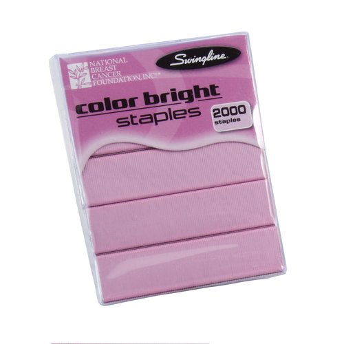 "Swingline® Color Bright Staples, Pink, 1/4"" Leg Length, 105 Per Strip, 2,000 Per Box"