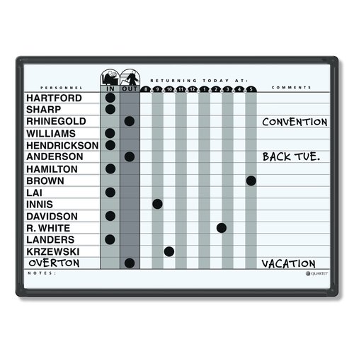 "Quartet® Classic Gray In/Out System, 24"" x 18"", DuraMax® Porcelain, Black Aluminum Frame"