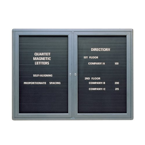 Quartet® Radius Design Changeable Letter Directory, 4' x 3', 2 Door, Graphite Frame