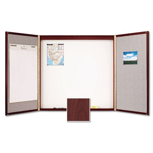 Quartet® Laminate Conference Room Cabinet, 4' x 4', Whiteboard/Bulletin Board Interior, Mahogany Finish