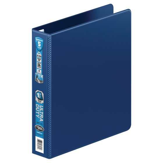 "Wilson Jones® Ultra Duty D-Ring Binder with Extra Durable Hinge,  1 1/2"", Navy"