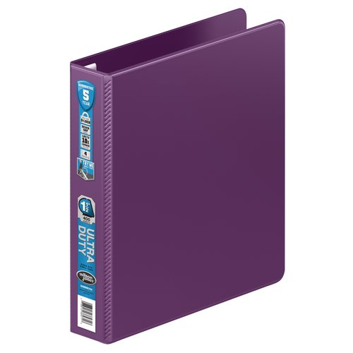"Wilson Jones® Ultra Duty D-Ring Binder with Extra Durable Hinge,  1 1/2"", Eggplant"