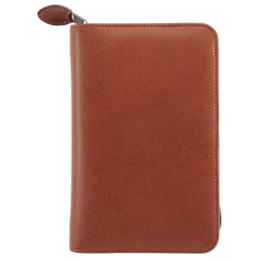 Portable size - Personal Organiser - Armorhide Leather Binder - Zippered - Dark Tan - 2PPW April 14