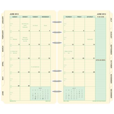 Traditional Green 2-Page-Per-Month Tabbed Calendars