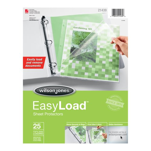 Wilson Jones® EasyLoad™ Sheet Protectors, Top & Side Loading, Clear, 25/Pack
