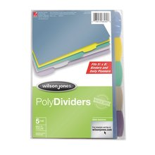 "Wilson Jones® 5-Tab Mini Dividers, 5 1/2"" x 8 1/2"", Assorted Colors"