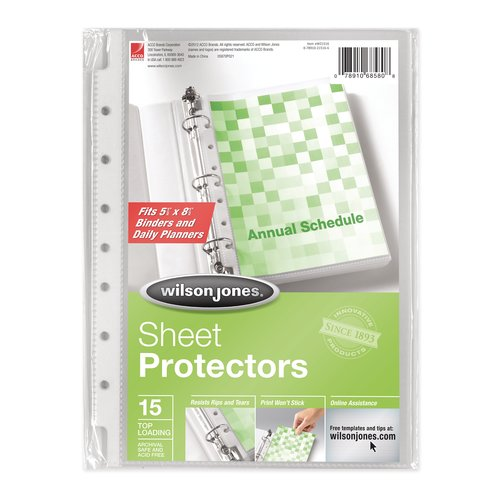 "Wilson Jones® Top-Loading Mini Sheet Protectors, 5 1/2"" x 8 1/2"", Clear, 15/Pack"