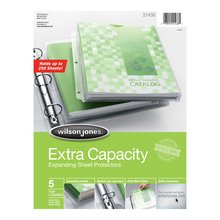 Wilson Jones® Extra Capacity Sheet Protectors, 250 Sheet Capacity, Clear, 5/Pack