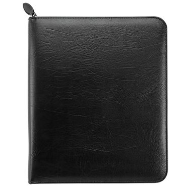 Folio size - Personal Organiser - Antique Vinyl Binder - Zippered - Black - 1PPD January 21