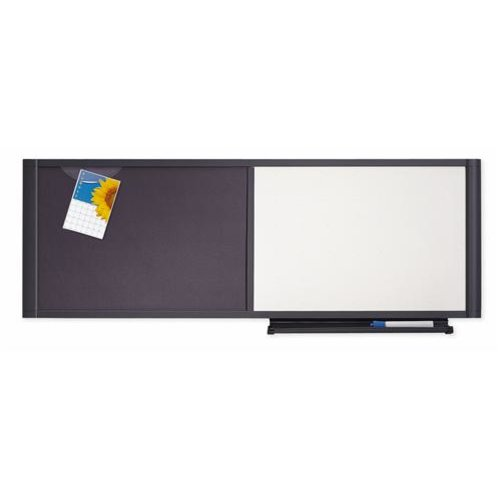 "Quartet® Prestige® Cubicle Combo Board, 48"" x 18"", Total Erase®/Fabric, Graphite Frame"