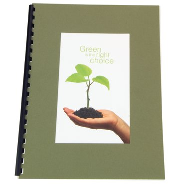 "100% Recycled Paper Cover Sets, Front Cover with Large window, Green 11 x 8.5"" unpunched, 100 sets"