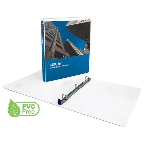 "New Clear View® Premium  Presentation Binder-PVC Free, White Round Ring, 1-1/2"", 280 sheet capacity, 12 pcs"