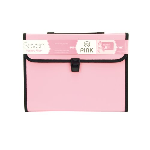 Wilson Jones® Pink 7-Pocket Filer with Tabs, Durable Poly, Buckle Closure