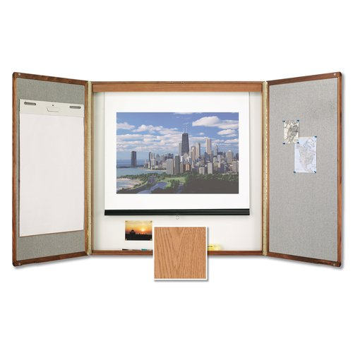 Quartet® Premium Conference Room Cabinet, 4' x 4', Whiteboard Interior with Projection Screen, Oak Finish