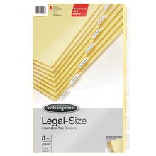 "Wilson Jones® Legal Insertable Dividers, 8-Tab Set, Clear Tabs on Buff Paper, 8 1/2"" x 14"""