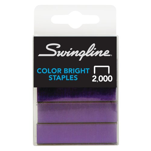 "Swingline® Color Bright Staples, Fashion Color Assortment, 1/4"" Leg Length, 105 Per Strip, 2,000 Per Box"