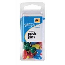ACCO® Push Pins, Jumbo, Assorted Colors, 25/Box