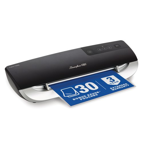 "Swingline® GBC® Fusion™ 3000L 9"" Laminator, 1 Min Warm-up, 3 or 5 Mil, Includes 30 EZUse™ Laminating Pouches"
