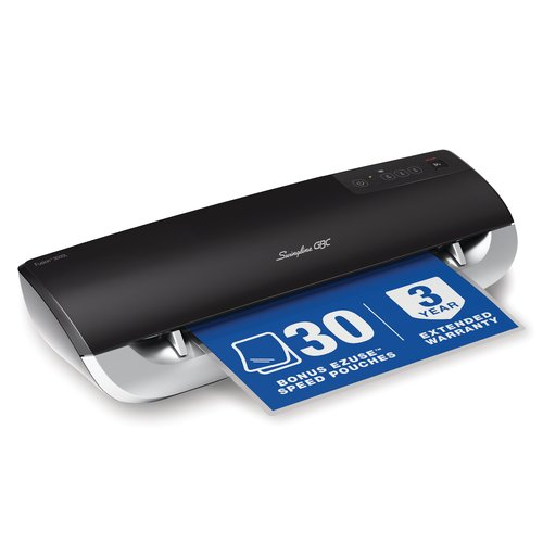"Swingline® GBC® Fusion™ 3000L 12"" Laminator, 1 Min Warm-up, 3 or 5 Mil, Includes 30 EZUse™ Laminating Pouches"