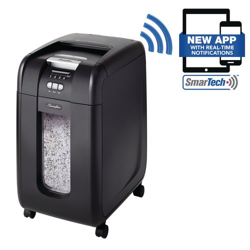 Swingline® Stack-and-Shred™ 300X Auto Feed Shredder, SmarTech™ Enabled, Super Cross-Cut, 300 Sheets, 5-10 Users