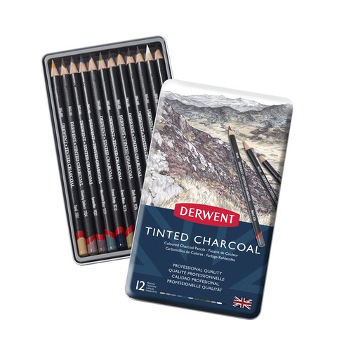 Tinted Charcoal Pencils 12 Tin
