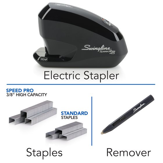 Swingline® Speed Pro™ 45 Electric Stapler Value Pack, 45 Sheet Stapler, Speed Pro 45 High Capacity Staples, Staple Remover