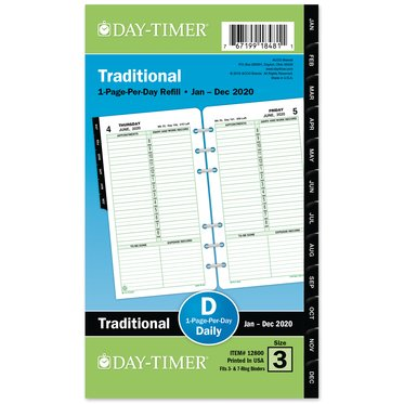 Portable size - Diary Refill - 1-Page-Per-Day - January 21