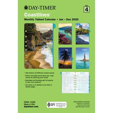Coastlines 2-Page-Per-Month Monthly Tabbed Calendars