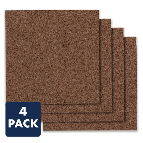 "Quartet® Dark Cork Tiles, 12"" x 12"", Frameless, Modular, 4 Pack"