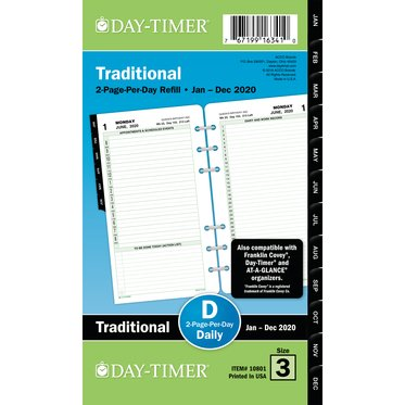 Portable size - Diary Refill - Reference 2-Page-Per-Day - July 20