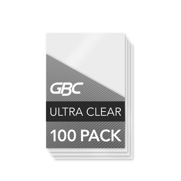 GBC Ultra Clear Thermal Laminating Pouches, ID Badge Size, 10 Mil, 100 Pack