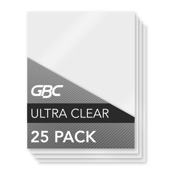 GBC Ultra Clear Thermal Laminating Pouches, Letter Size, 3 mil, 25 Pack (3200577)