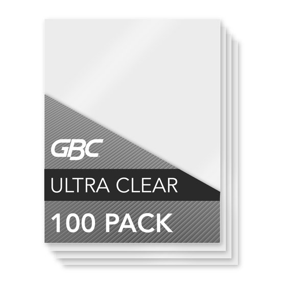GBC Ultra Clear Thermal Laminating Pouches, Letter Size, Speed Format, 5 mil, 100 Pack (3200587)
