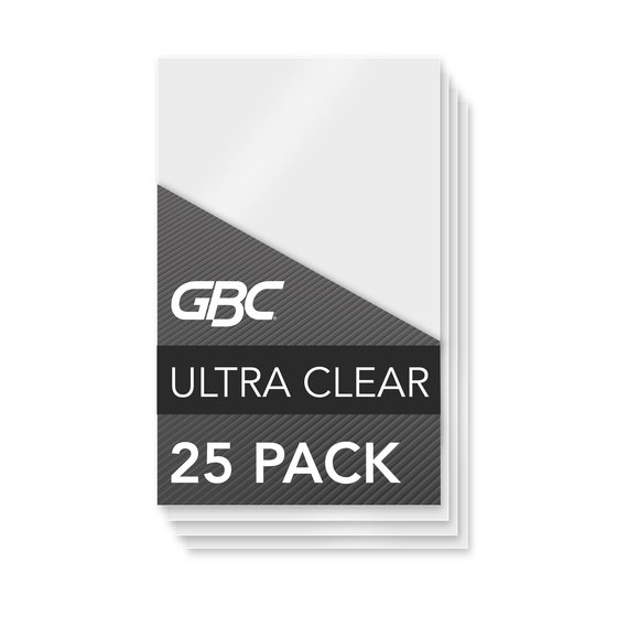 GBC Ultra Clear Thermal Laminating Pouches, Large Index Card Size, 5 mil, 25 Pack