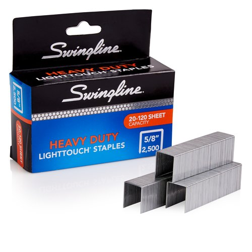 "Swingline® LightTouch® Heavy Duty Staples, 5/8"" Leg Length, 2,500 Per Box"