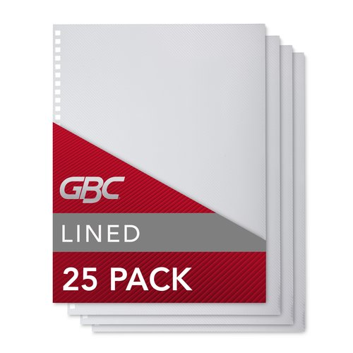 GBC Design View Poly Presentation Covers, ProClick Pre-Punched, Square Corners, 11 x 8.5 -Inches, Lined Pattern, 25 Covers per Pack (2514477)
