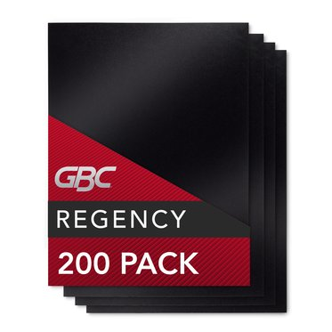 "Regency® Premium Presentation Covers, Black, 200 pieces, 11 x 8.5"", square corners, Unpunched, Without Window"