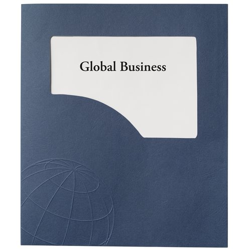 GBC® Designer Global Folders, 50 Sheets, Navy with Globe Design, 5/Pack