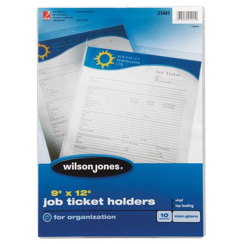 "Wilson Jones® Job Ticket Holder, Top-Loading, 9"" x 12"", Non-Glare, 10/Pack"