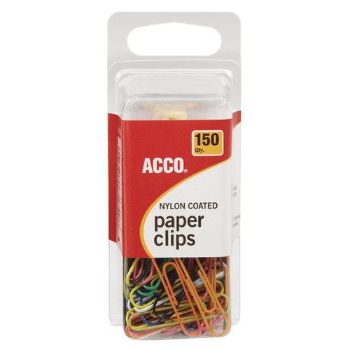 ACCO® Nylon Paper Clips, Smooth Finish, Standard Size, Assorted Colors, 150/Pack
