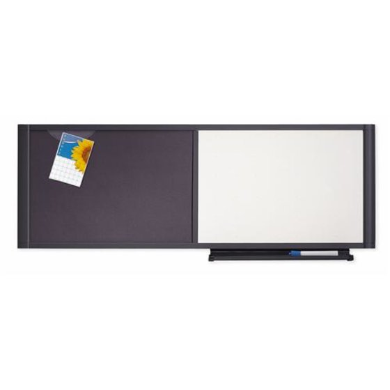 "Quartet® Prestige® Cubicle Combo Board, 48"" x 18"", Total Erase®/Fabric, Graphite Frame"
