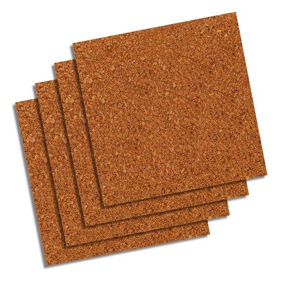 "Natural Cork Tiles, 12"" x 12"", Frameless, Modular, 4 Pack"