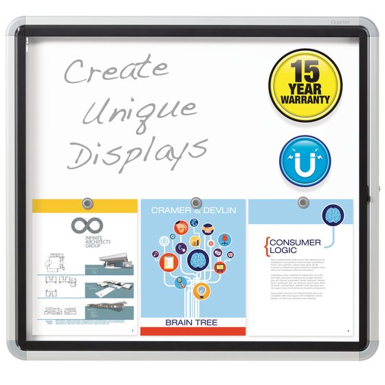 """Quartet® Enclosed Magnetic Whiteboard for Outdoor Use, 30"""" x 27"""" or 6 Sheets, 1 Swing Door, Aluminum Frame"""