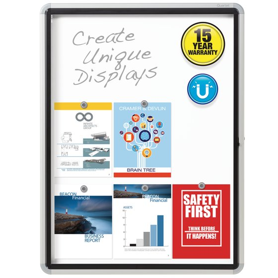 """Quartet® Enclosed Magnetic Whiteboard for Outdoor Use, 30"""" x 39"""" or 9 Sheets, 1 Swing Door, Aluminum Frame"""