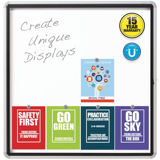 """Quartet® Enclosed Magnetic Whiteboard for Outdoor Use, 38"""" x 39"""" or 12 Sheets, 1 Swing Door, Aluminum Frame"""