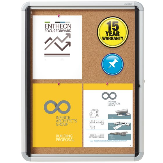 Quartet® Contemporary Enclosed Cork Bulletin Boards for Indoor Use, Swing Door, Euro™ Frame