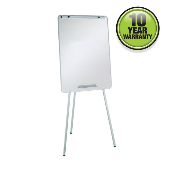 "Oval Office Whiteboard Easel, 29"" x 40"", Holds Flipcharts, Gray Frame"