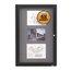 Quartet® Enclosed Radius Fabric Bulletin Board, 2' x 3', 1 Door, Graphite Frame
