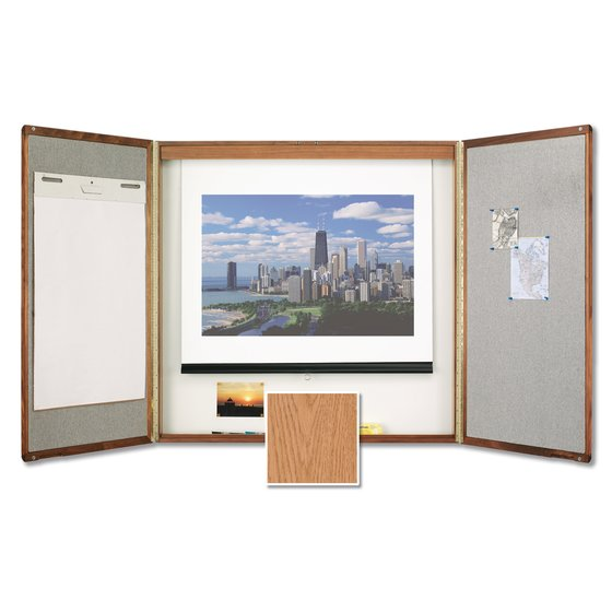 Premium Conference Room Cabinet, 4' x 4', Whiteboard Interior with Projection Screen, Oak Finish