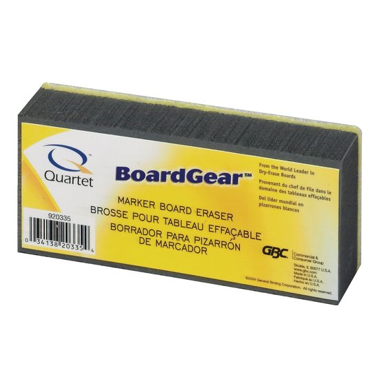 "Quartet Whiteboard Eraser, Soft Bristles, Washable, 5"" x 2 3/4"" x 1 3/8"""